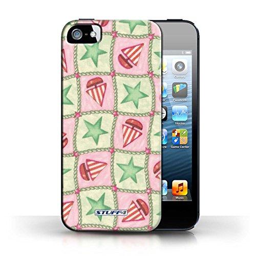 Etui / Coque pour Apple iPhone 5/5S / Vert/Rouge conception / Collection de Bateaux étoiles