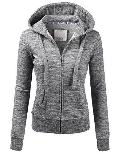 mfy Slim Fit Full Zip up Long Sleeve Hoodie Cotton Jacket MARLEDCHARCOAL US L/Asia L (AWOHOL0134) (Hood Sweater Jacket)