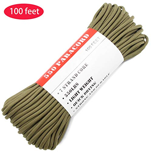 BENGKU Outdoor Survival Mil-SPEC 550lb Paracord/Parachute Cord(MIl-C-5040-H),100Feet,100% Nylon. (Olive Green, 100.00) by BENGKU (Image #6)
