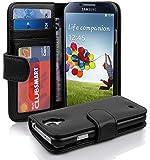 Cadorabo - Custodia Book Style Design Portafoglio per Samsung Galaxy S4 (I9500) con 3 Vani di Carte - Etui Case Cover Involucro Bumper in NERO-PROFONDO