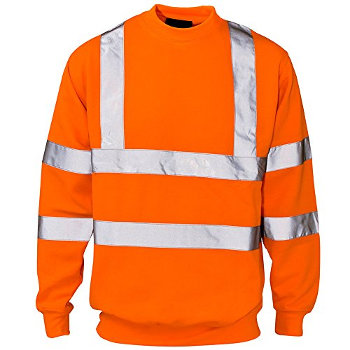 Sécurité Go Viz Visibilité Pull rt Orange Rail Col Homme Pour Rond Strips Reflective Army De Sweat Workwear Hi And With Haute shirt qw6t0R