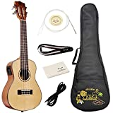 Tenor Electric Ukulele Bundle with Gig Bag,Spare Aquila Strings Tuner Strap and Polishing Cloth,Solid Mahogany Top