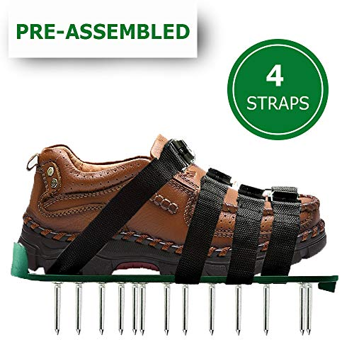 OXYVAN Lawn Aerator Shoes Universal Pre Assembled Spiked Aerating Sandals with 4 Adjustable Metal Straps for Soil and Grass Health Care by OXYVAN