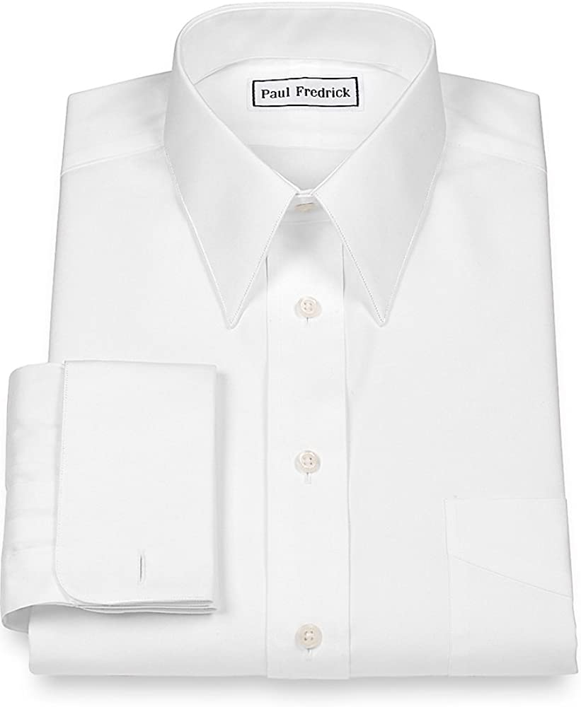 Paul Fredrick Mens Slim Fit Cotton Edge Stitched Straight Collar French Cuff