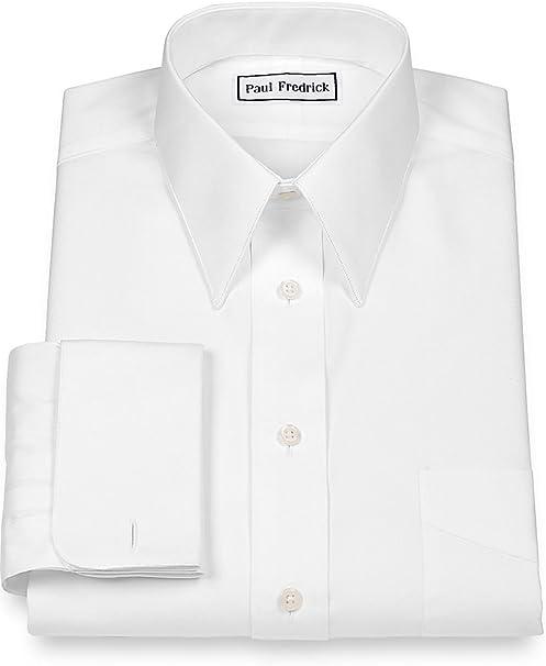 Paul Fredrick Mens Pinpoint European Straight Collar French Cuff