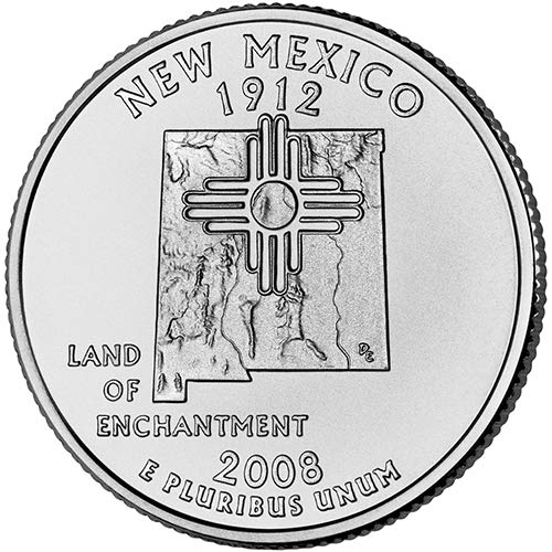 2008 S Clad Proof New Mexico State Quarter Choice Uncirculated US - Quarter Cents 25 Coin