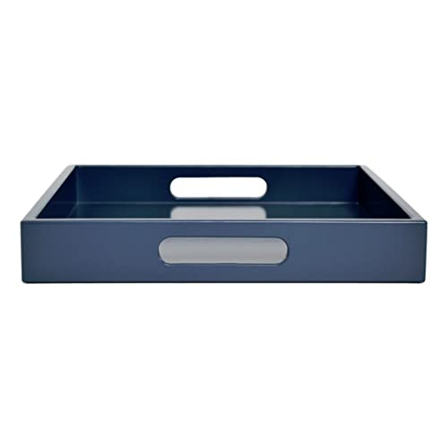 Large Blue Ottoman Coffee Table Tray With Handles