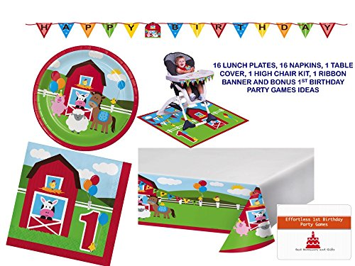 Barnyard Farm Animals 1st Birthday Party Supplies Set Serves 16 - Complete Tableware and Decorations Kit for 16 Including Happy Birthday Banner and High Chair Kit for the birthday girl or boy -