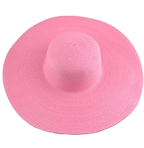AngelCity Brides Womens Beach Hat Striped Straw Sun Hat Floppy Big Brim Hat (Pink)