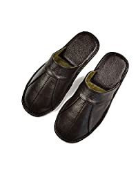Slip On Men Slippers Soft Comfortable 100% Cow Leather Handmade Stitches Leather Shoes