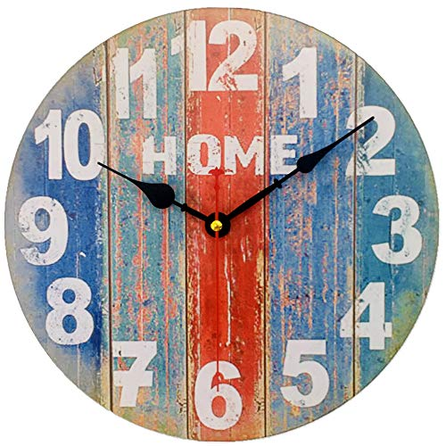 Vintage Mediterranean Wooden Wall Clock,Shabby Beach Wood Farmhouse Silent Clocks,Rustic Ocean Colors Paint Boards Decoration for for The Living Room, Kitchen, Bedroom, Non-Ticking (12 inch)