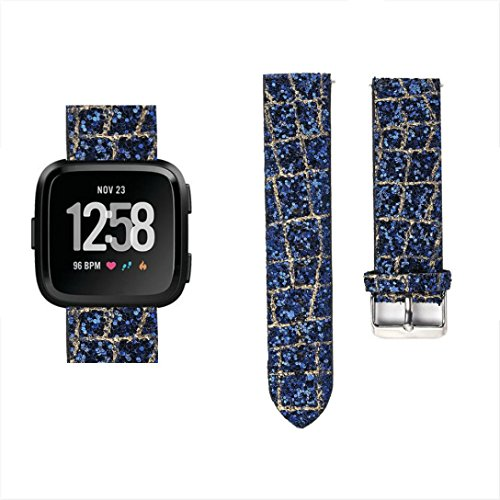 YJYdada TexturBling Glitter Leather Wrist Strap Replacement Watch Band For Fitbit Versa (blue)