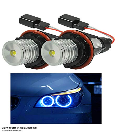 ICBEAMER for BMW E39 E53 E60 E61 E63 E64 E65 E66 E87 LED 12V 6W Blue Angel Eyes Halo Light Bulbs Lamps [Pack of 2 pcs]