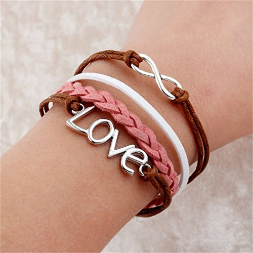 - 2Pcs Bijoux Handmade Braid Love One Direction Charm Bracelet Wristband Leather Heart Bracelets Bangles For Men Woman 7