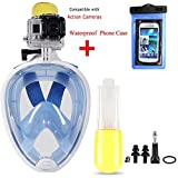 Snorkel Mask Full Face,180°View Snorkelling Mask Come with Universal Waterproof Phone Case - Free Breathing Design, Snorkeling with Anti-fog & Anti leak,with Action Cameras Slot for Gopro Hero5/4/3+/3/2/1,SJCAM/SJ4000/SJ5000/SJ6000 Etc...
