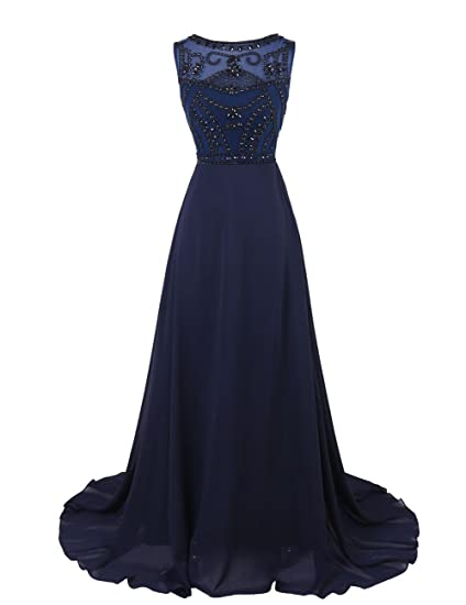 Dresstells Womens Long Chiffon Prom Dress Evening Gown with Beading Navy Size 6