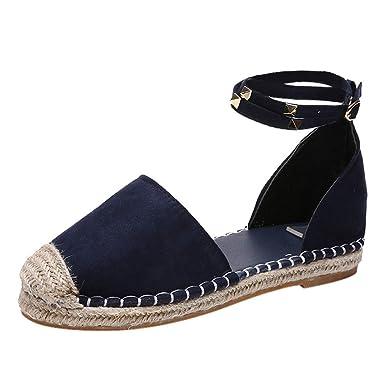 Zapatos de Mujer, ASHOP Casual Planos Loafers Remache Decorativos Hebilla Correa Solo Mocasines de Puntera