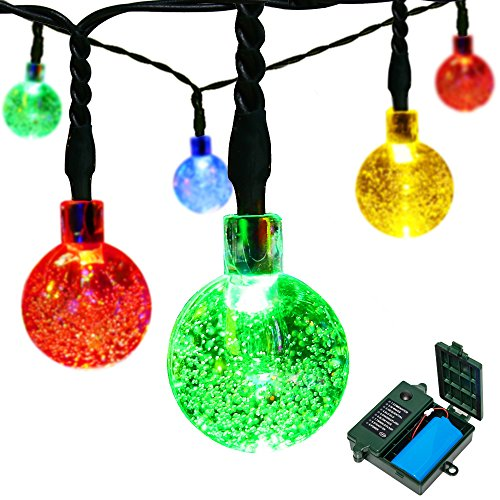 [Rechargeable Battery Included] easyDecor Globe Battery Operated String Lights 30 LED Automatic Timer 8 Mode Crystal Ball Christmas Lights for Xmas Garden Outdoor Holiday Decoration -