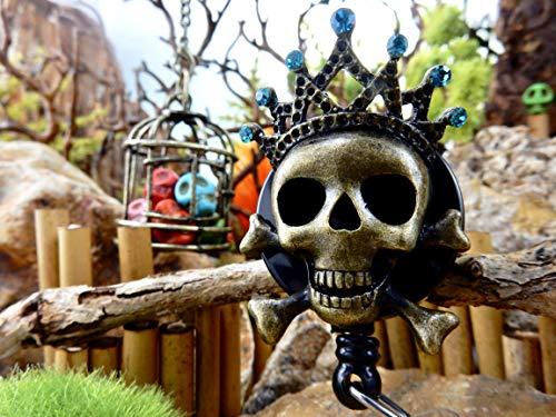 Skull Badge Reel Halloween ID Clip Retractable Holder Sugar Skull Goth Gothic Rhinestone Freaky Crown Creepy Crossbones Spooky Day of the Dead Gift for Her Tiara Crystal Nurses Nursing Nurse RN 142