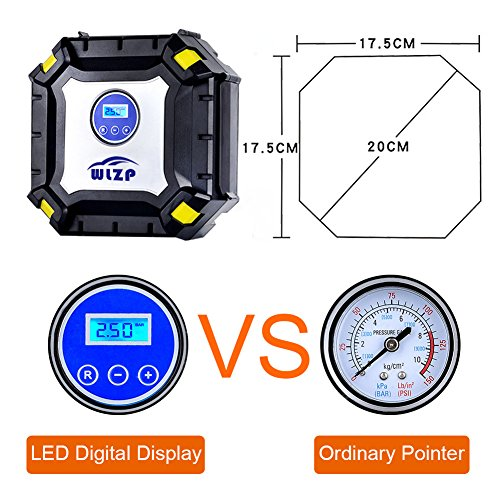 12V DC Air Compressor Pump with LED Lamp Digital Pressure Gauge, 150 PSI Auto Digital Tyre Inflator, Portable Tire Pump for Cars, Motorcycles, Bicycles, Balls, Inflatable Beds