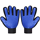 TeleShower Pet Grooming Glove Pet Hair Removal Mitt Brushing Glove Pet Deshedding Glove Pet Massage Tool, Perfect for Dogs & Cats with Long & Short Fur (2-Pack, Left + Right Hand, Blue)
