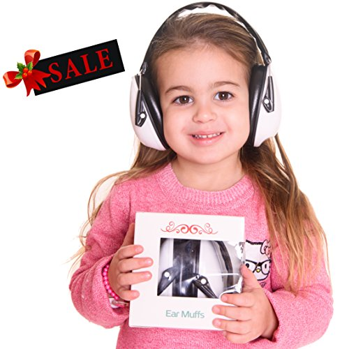 Earmuffs Hearing Protection for Kids, Hearing Protection Noise Cancelling Headphones. Baby, Toddler & Infant Airplane Ear Muffs, Sound Blocking Earphones (Black and white)