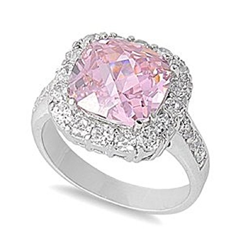 13MM .925 Sterling Silver Luxury Beautiful Elegant Pink cz with Clear cz Ring Size 5-10 (Style Pink Ice Ring)