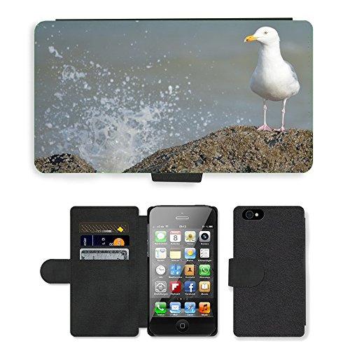 Just Phone Cases PU Leather Flip Custodia Protettiva Case Cover per // M00128580 Waves Seagull Sea Rocks Animals // Apple iPhone 4 4S 4G