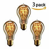 KINGSO 3 pack Vintage E27 Edison Screw Bulb 40w Dimmable A19 Antique Filament Tungsten Loop Style 23 Anchors Incandescent Bulbs for Home Light Lamp Fixtures Nostalgic Decorative Glass 220V