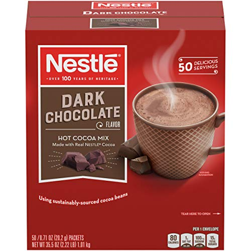 Nestle Hot Chocolate Mix, Hot Cocoa, Dark Chocolate Flavor, Made with Real Cocoa, 0.71 oz Packets (Pack of - Nestle Flavor Packets