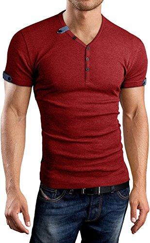 V-neck Sleeve Cardigan Short - Aiyino Mens Summer Casual V-Neck Button Cuffs Cardigan Short Sleeve T-Shirts L Red