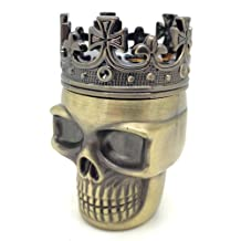 Case Square® Three Layer King Crown Skull Metal Grinder with Pollen Catcher for Herb Tobacco Spice