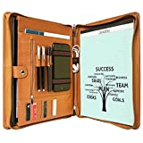 Cowhide Portfolio Organizer Padfolio Leather Case Card Folder Zippered for iPad Pro 12.9/10.5/9.7 inch, New Surface Pro (2017) 5/4/3, MacBook 12 inch/11.6', Custom Engraved Personalized Lettered
