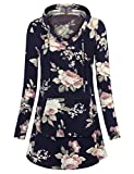 MCKOL Floral Tunics for Women, Ladies Cotton Knitted Long Sleeve Pullover Sweatshirt A Line Tops With Kangaroo Pocket (Blue Pink,Large)