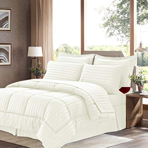 Sweet Home Collection 8 Piece Bed In A Bag with Dobby Stripe Comforter, Sheet Set, Bed Skirt, and Sham Set - King - Beige (Set Comforter Beige)