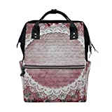 Backpack School Bag Wedding Rose Pattern Canvas Travel Doctor Style Daypack