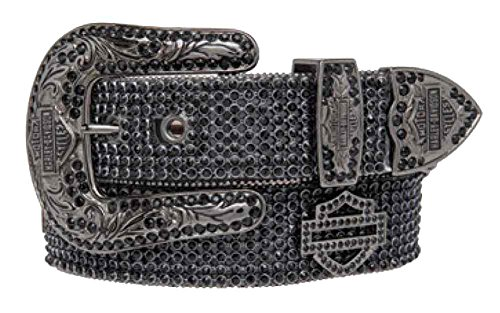 Harley-Davidson Women's Embellished Bar & Shield Belt, Black HDWBT10044-BLK (M) by Harley-Davidson