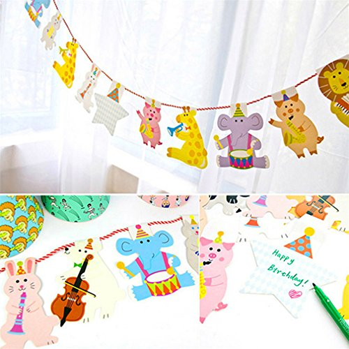 15Pcs/Pack 2M Happy Family Baby Shower Cartoon Animal Garland Striped Paper Flags Banner Decor Birthday Party Supplies For Kids by Happlu