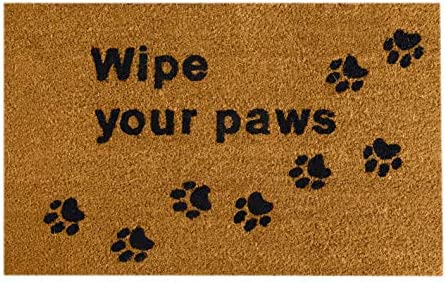 35 x 24 Inch Home Wipe Your Paws Coir Doormat – Oversized Welcome Mat with Black Paw Prints and Natural Fade