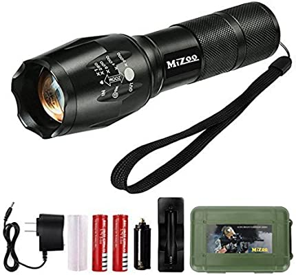 Battery 2 xUltra fire Tactical Led Flashlight T6 5 Modes Zoom 18650 Torch light