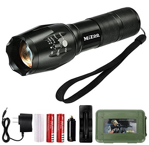 - MIZOO LED Flashlight Mini Portable Torch Adjustable Focus, Super Bright - Sturdy and Durable Aluminium Structures - Water Resistant Lighting Lamp Torch For Hiking, Camping, Emergency