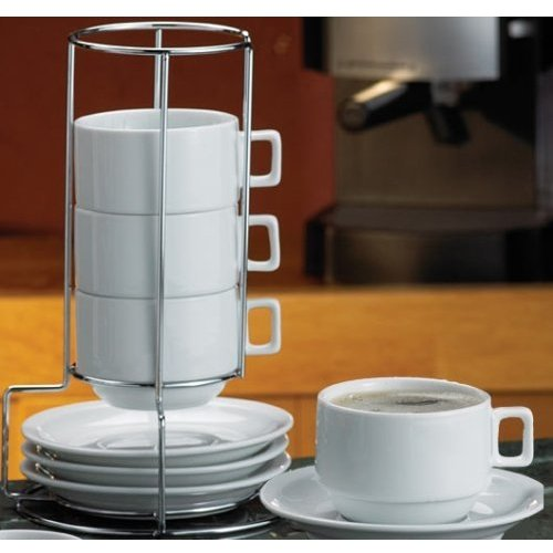 (HIC 9-Piece Stackable Cappuccino Coffee Tea Set, Fine White Porcelain, Set Includes 4 (7-Ounce) Cups with Matching Saucers and Metal Stand, Gift Boxed)
