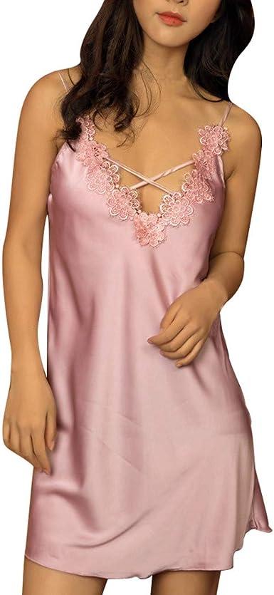 Feifish - Camisa de noche para mujer, de satén, sexy, con encaje, lencería sexy, en V, cuello de satén rosa L: Amazon.es: Ropa y accesorios