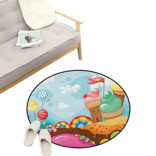 Ice Cream Round Carpet ,Dessert Land with Rainbow Candies Lollipop Trees and Cupcake Mountains Cartoon, Kids Room Bedroom Bedside Rug 39