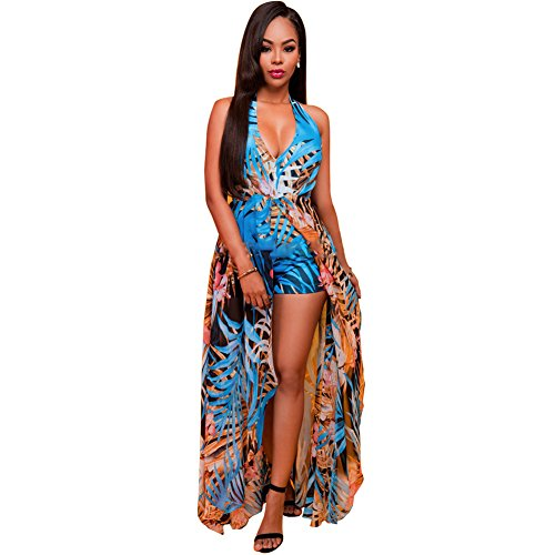 Floral Print Banded Empire Dress (Women's Sexy Halter Backless Floral Chiffon Long Maxi Dress Overlay Romper Jumpsuit Playsuit, Large)