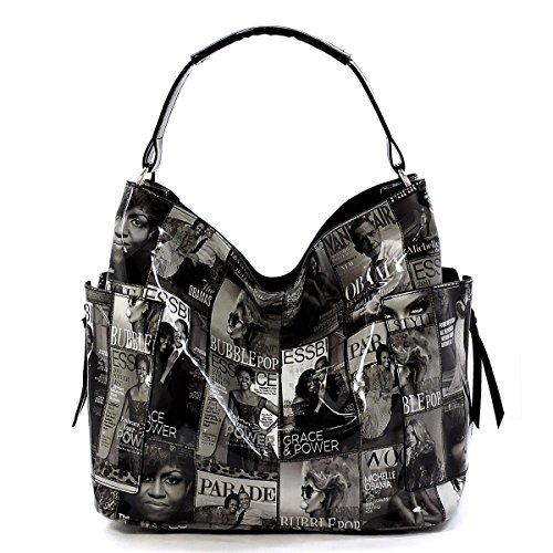 Patent Leather Large Hobo (Glossy Magazine Cover Collage 3-in-1 Shoulder Bag Hobo Michelle Obama Handbag (Black/White))