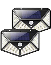 Solar Lights 100 LED Outdoor, 2000 Lumens Waterproof Wireless Solar Motion Sensor Lights Light with 125° Motion Angle Security Light for Front Door,Yard,Garage,Deck (2Pack)