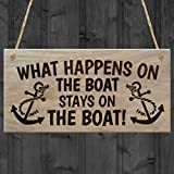 Red Ocean What Happens on The Boat Stays on The Boat Plaque, Wood, Brown
