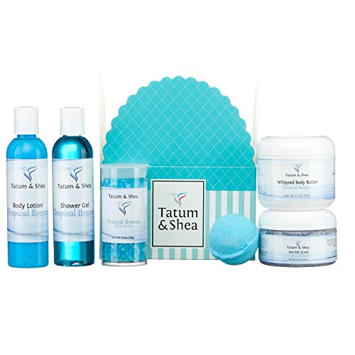 Spa Gift Set for Women :: Bath Soak, Body Lotion, Bath Bomb, Shower Gel, Whipped Body Butter & Sea Salt Scrub :: 6 Items, Gift Boxed, Handcrafted in USA.Tropical Breeze by Tatum & Shea