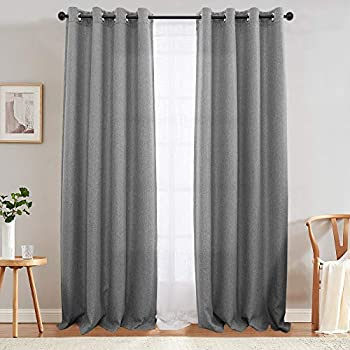 jinchan Linen Textured Curtains for Bedroom Room Darkening Window Drapes for Living Room Curtain Single Panel 84-Inch Grey
